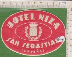 PO3429C# ETICHETTA - ADESIVI ALBERGHI - HOTEL NIZA - SAN SEBASTIAN - Adesivi Di Alberghi