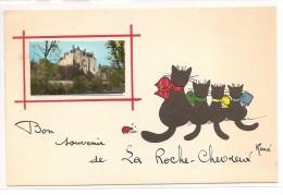 36 - Bon Souvenir De LA ROCHE CHEVREUX - Illust : René ,famille De Chat Noir - Andere Gemeenten