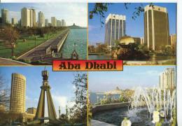 CPM Format Actuel : ABU DHABI : Carte Représentant Diverses Multivues - Circulée - 1994 - Timbre Français - Emirats Arabes Unis