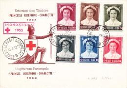 912 917 PC 6 Commémoratif  Overstromingen Inondations Croix-Rouge Joséphine Charlotte Princesse 10-4-1953 B Bureau De P - FDC