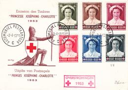 912 917 PC 7 Commémoratif 917-V2  Overstromingen Inondations Croix-Rouge Joséphine Charlotte Princesse 2-4-1953 C Autom - FDC