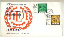 _4V913:FDC 20th Aniversaire Of The International Labour Organisation . 3sh+ 6p: KINSTON MY 23 69 JAMAIICA - Jamaique (1962-...)