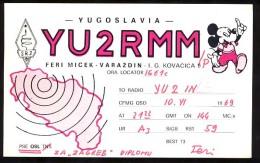 AK     QSL  CARD   RADIO AMATEUR    MICKEY  MOUSE    YU2 RMM  1969. - Amateurfunk