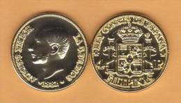 FILIPINAS  (Colonia Española-Rey Alfonso XII) 4 PESOS  1.881  ORO/GOLD  KM#151  SC/UNC  T-DL-10.709 REPLICA  Espa. - Filipinas