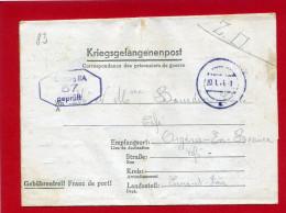 CORRESPONDANCE PRISONNIER DE GUERRE 1943 INTERNE AU STALAG IIA A NEUBRANDENBURG POUR ORGERES EN BEAUCE CACHET CENSURE - Documentos