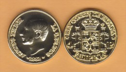 PITCAIRNEILANDEN  (Spanish Colony-King Alfonso XII) 4 PESOS  1.881 ORO/GOLD  KM#151  SC/UNC  T-DL-10.709 COPY  Hol. - Pitcairn Islands