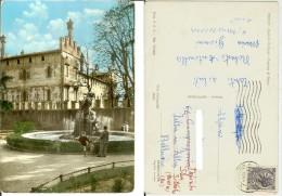 Thiene (Vicenza): Castello Colleoni, Fontana Di Bacco. Cartolina B/n Acquerellato FG Viag. 1964 (animata, Bimbi, Cane... - Vicenza