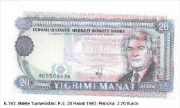 6-193. Billete Turmenistan P-4. 20 Manat 1993 - Turkmenistán