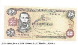 6-252. Billete Jamaica . P-69. 2 Dolares 01-02-1993 - Jamaica
