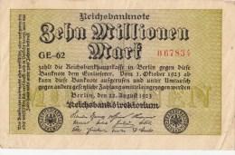 Allemagne - B854 -  Billet Uniface -  10 Millionen  Mark  (Type, Nature, Valeur,  état... Voir Scan) - [ 3] 1918-1933 : Weimar Republic