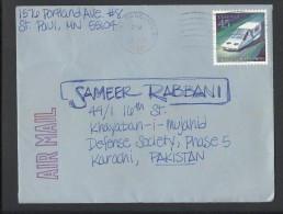 USA 1989, Futuristic Space - Hover Car, 20th Universal Postal Congress, USA Airmail To Pakistan - Space