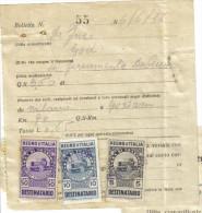 Marche Da Bollo Tassa Di Trasporto 5 + 10 + 50 Cent Destinatario Su Bolletta 1936 C.1472 - Italy