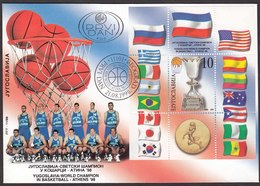 Yugoslavia 1998 Basketball World Championship, Athens, Greece, Flags, Block, Souvenir Sheet FDC - Basket-ball