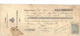 Lettre Change 1919 LACOMBE Vins CLERMONT L'HERAULT Hérault Pour Rieupyroux Aveyron - Timbre  Fiscal - Wissels