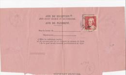 N°306 Seul Sur Document Avis De Paiement De Vincennes - Francia