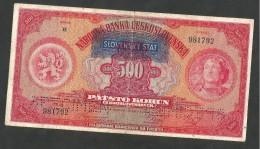 [NC] SLOVAKEI / SLOVAKIA - 500 KORUN (1939) A. MUCHA - SPECIMEN / OVERPRINT - Slovacchia