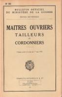 BULLETIN OFFICIEL MINISTERE GUERRE 1955 MAITRE OUVRIER TAILLEUR CORDONNIER