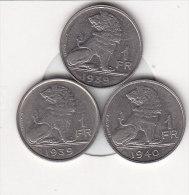 3 X 1 Franc Nickel Léopold III 1939 FL/FR - 1939 FR/FL Et 1940 FL/FR - 1934-1945: Leopold III
