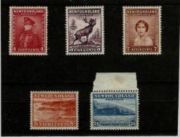 NEWFOUNDLAND 1932 4c - 24c SG 224/228 MM/UM Cat £18.50 - 1908-1947