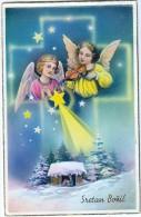 AK ANGEL Zwei Engel Mit Geige OLD POSTCARD 1939 - Anges