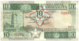 Somalia 10 Shilling 1987 AUNC Dirty - Somalia