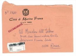 CITTA' DI MARTINA FRANCA - 74015 TARANTO  - ANNULLO MECCANICO ROSSO RACCOMANDATO ANNO 1981 - Affrancature Meccaniche Rosse (EMA)