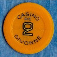 Casino De Divonne Les Bains - Jeton Numéroté 2F. - France - Chip - Obsolete - Gettone - Casino