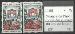 """Variétés YT 1189 """" Arc Triomphe """" 1959 Rouge Au Lieu De Brun"""