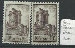 "Variétés YT 393 "" Vincennes "" 1938 Brun Terne Et Brun Noir"