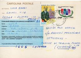 1987 Italia Italy Italie Intero XXV ONU 78 £100+500 SOSPIRO X Svizzera Entier Stationery - 6. 1946-.. Repubblica