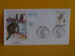 FDC- Le Castor, Le Martin Pêcheur - 39 Dole - 14.9.1991 - 1er Jour, - FDC