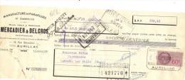 Lettre Change 15/7/ 1940 MERCADIER DELCROS Parapluies AURILLAC Cantal Pour Lacaune Tarn - Timbre Fiscal - Wissels