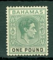 Bahamas: 1938/52   KGVI    SG157a   £1    Blue-green & Black       MH - Bahamas (...-1973)