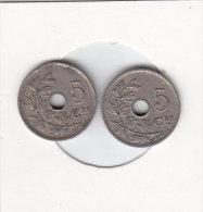 2 X 5 Centimes  Albert I 1927 FR Et FL - 03. 5 Centimes