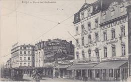 "Liège - Place Des Guillemins. -  Tram  Et Caleche. "" Hotel Du Chemin De Fer - Hotel Terminus. Etc. - Liege"