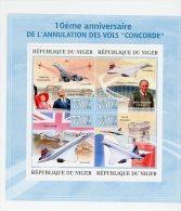Concorde-Elisabeth II-Trubshaw-Niger-feuille T ** *MNH-Officiel - Concorde