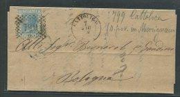 1868  RARA  COLLETTORIA  DA   SAN GIOVANNI  IN  MARIGNANO   CATTOLICA   X   BOLOGNA - 1861-78 Vittorio Emanuele II