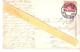 """BAS RHIN - SUPERBE CACHET ALLEMAND """"STRASSBURG (ELS) 2 J"""" - 1913 - 2 SCANS-Strasbourg Nid De Cigognes-Illustration - Marcophilie (Lettres)"""