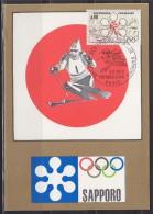 = Jeux Olympiques D'Hiver Sapporo Paris 5 2 1972 Carte Postale 1er Jour N°1705 - Hiver 1972: Sapporo
