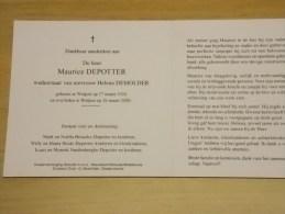 Doodsprentje Maurice Depotter Wulpen 27/3/1920 - 26/3/2000 ( Helena Demolder) - Religione & Esoterismo