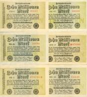 Deutschland, Germany - 6 X 10 Mio. Mark, Reichsbanknote, Ro. 105a, XF ( II ), 1923 ! - 1918-1933: Weimarer Republik