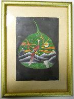 Feuille Peinte Main Arbre Sacré De La Bodhi-Goya Ancien Bouddhisme Oiseaux Paysage 14x19cm RARE Authentique - Religion & Esotérisme