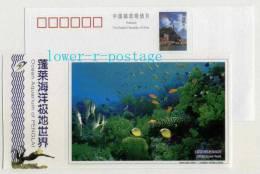 China 2005 Penglai Ocean Aquarium Postal Stationery Card Coral Reef Coral Fish - Fishes