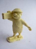 RARE FIGURINE PIERRAFEU - FLINTSTONE - MARX 1961 Reprint 1991 Monochrome AVEC UNE POUTRE - Figurines