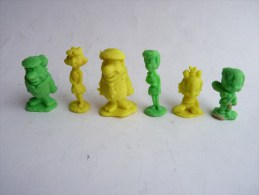 RARE Série De 6 FIGURINES PIERRAFEU - FLINTSTONE RUBBER - GOMMES 1970's Monochrome - Figurines