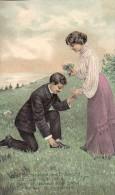 AK PAARE GEPRÄGT BLUMEN OLD POSTCARD 1908 - Couples