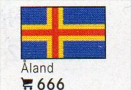 Set 6 Flags In Color Äland In Farbe 4€ Kennzeichnung An Bücher,Alben+Sammlung LINDNER #666 Finnland Flag Isle Of Finland
