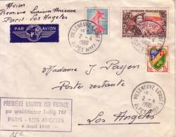 1er LIAISON AERIENNE AIR FRANCE PARIS-LOS ANGELES 4-4-1960 - DE VILLENEUVE LOUBET 2-4-1960 - Luchtpost