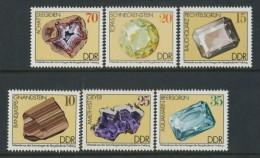 BL4-61 EAST GERMANY, DDR 1974 MI 2006-2011 MINERALS, MINERAUX. MNH, POSTFRIS, NEUF**. - Mineralen