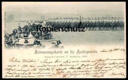 ALTE POSTKARTE STUTTGART CANNSTATT ERINNERUNGSKARTE AN DIE KAISERPARADE 07.09.1899 Parade Regiment Soldaten Soldiers Cpa - Familias Reales